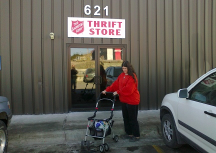 Shopping for Dinah, stroller and toys  2012-02-13