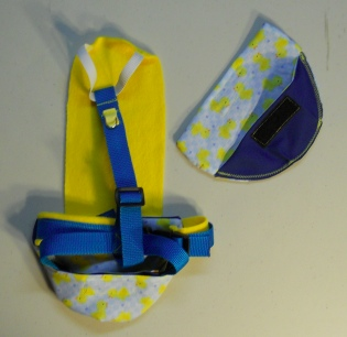 Yellow Ducky Duck Diaper Holder Harness back side